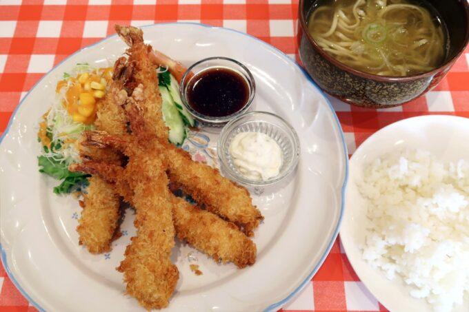 南風原・環境の杜ふれあい「ぬーじボンボン ニュータイプ」エビフライ定食(900円)
