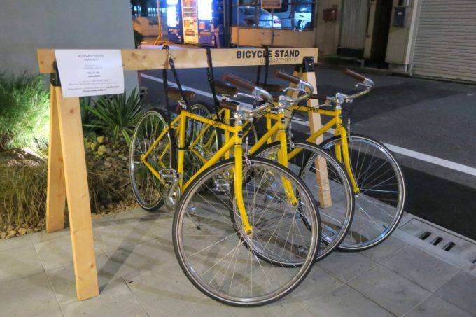 浅草のホステル「マスタードホテル浅草2(MUSTARD HOTEL ASAKUSA2)」では自転車の貸し出しがある。