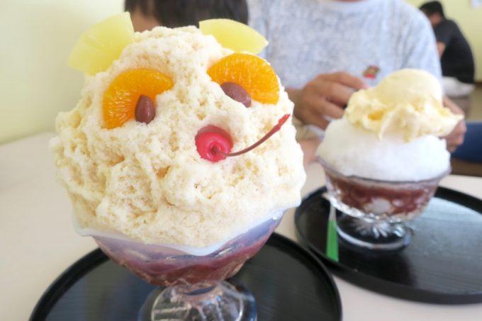 糸満「いなみね冷やしもの店」大きくて可愛い白熊(626円)とクリームぜんざい(486円)