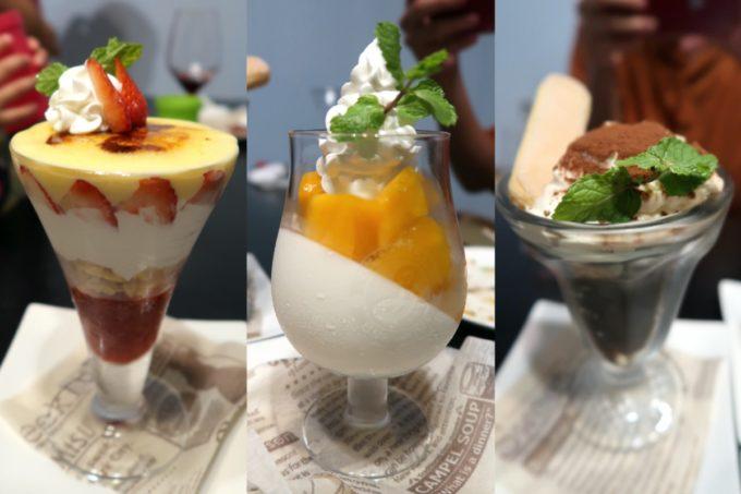 宜野湾「PePePe(ペペペ)」スイーツは各580円(イチゴのクリームブリュレ、パンナコッタとマンゴー、ティラミスとコーヒーゼリー)