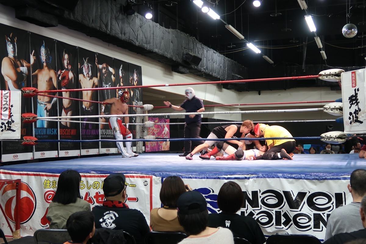 琉球ドラゴンプロレスのハウスショー「我栄トーナメント2020 Aブロック一回戦」レフェリーストップで試合終了(2020年1月11日)