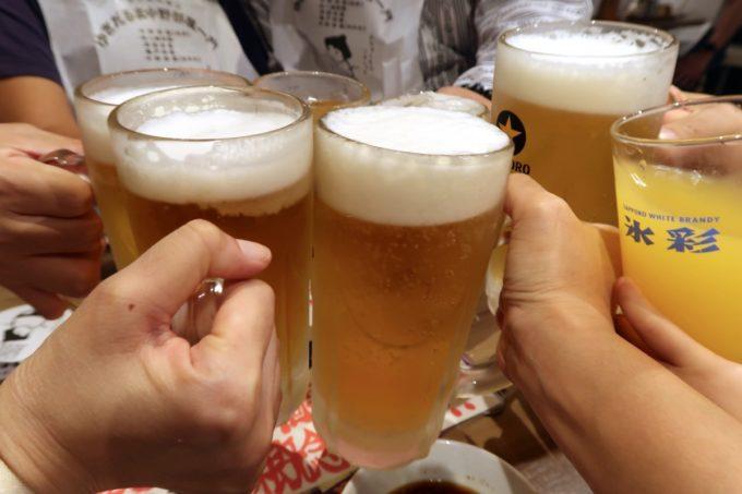 「ゆきだるま 両国部屋」飲み放題のサッポロ生ビール(大ジョッキ)で乾杯!