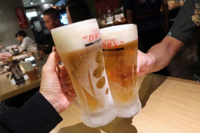 那覇・久茂地「焼乃魚島」飲み放題のビールはクリアアサヒで乾杯。