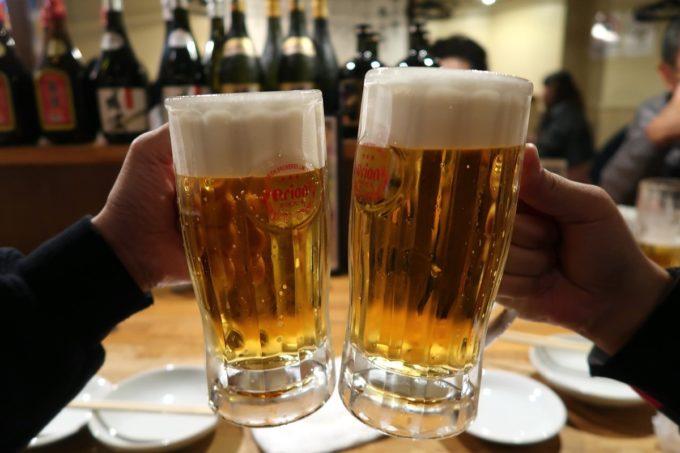 那覇・牧志「弐ノ弐 那覇店」オリオンビール(480円)で乾杯