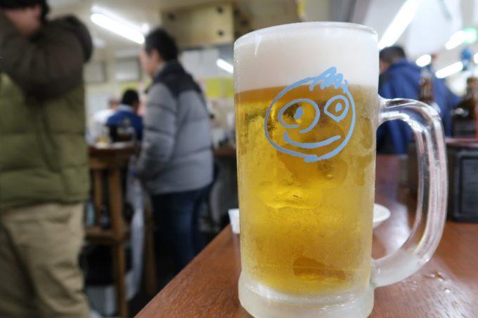 横浜・野毛「大衆食堂2.0 とぽす」生ビール(中ジョッキ、480円)