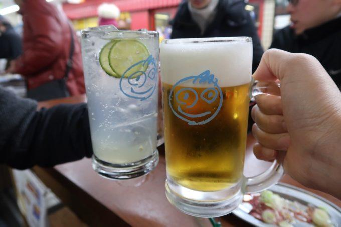 横浜・野毛「大衆食堂2.0 とぽす」生すだちチューハイ(490円)と生ビール(480円)