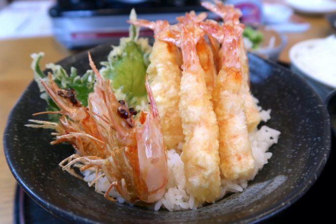沖縄県宜野座村「車えびレストラン 球屋」上えび天丼は中サイズの活きえびが5尾使われている