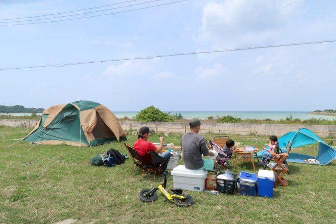 糸満「海ん道(うみんち)」デイキャンプのお昼ごはんを食べる様子