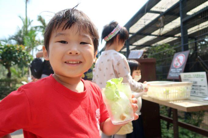 沖縄「東南植物楽園」動物ふれあい広場で餌を買う