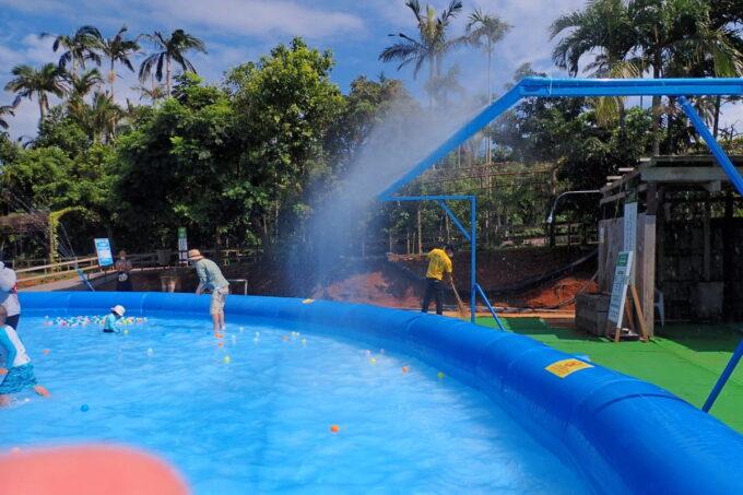沖縄「東南植物楽園」巨大エアプールのミスト