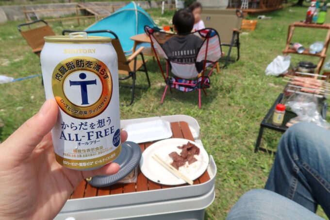 糸満「海ん道(うみんち)」デイキャンプのためノンアルコールビールを飲む。