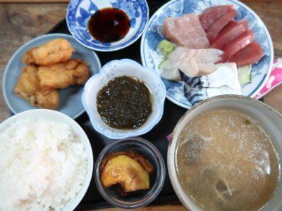 那覇市東町「鮮魚 ふくむら」ランチの刺身定食(600円)