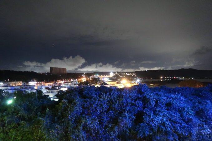 沖縄・恩納村「ホテルムーンビーチ」ナチュラルスーペリア(32.4平米、ツインルーム、グリーンビュー)のベランダからの眺め(夜)