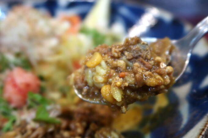 那覇・前島「タマニカレー」アサリとゴボウの鶏キーマ(850円)のごはんをすくなくしてもらったのでカレーだらけになった。