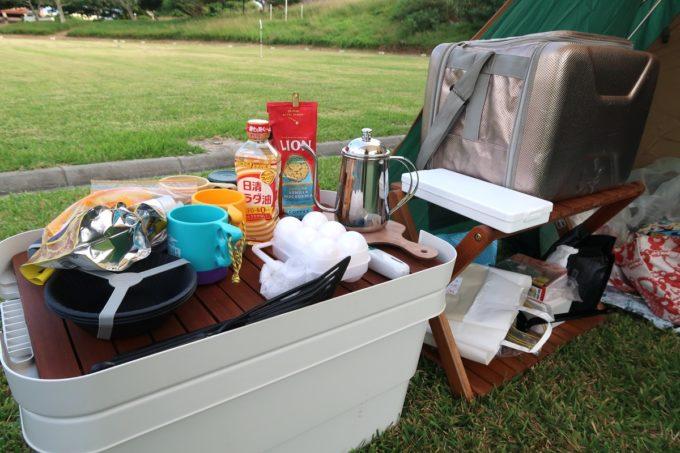 ユインチホテル南城のキャンプ場を訪れた際の荷物