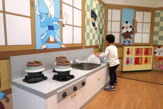 「仙台アンパンマンこどもミュージアム」どんぶり屋さんごっこで遊ぶお子サマー