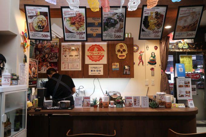 那覇・桶川「Burrito&Tacos Bremen(ブレーメン)」の店内カウンター席