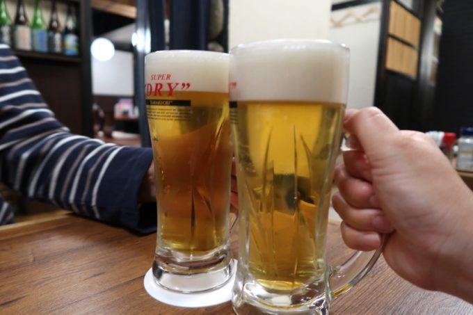 仙台「奥州酒場 ちだちゃん」ビールはスーパードライ(490円)だった