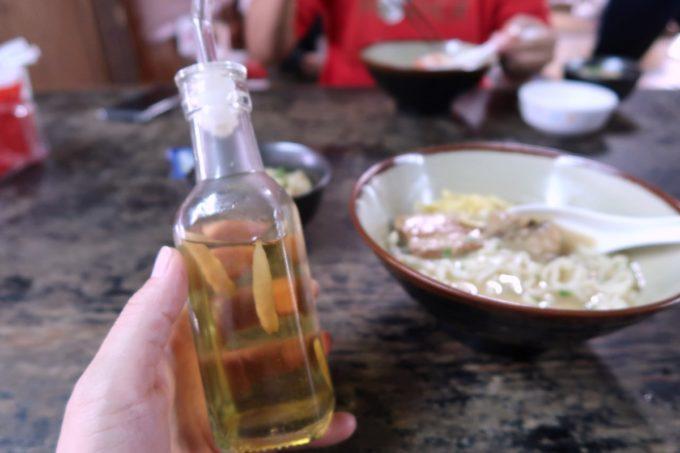 中城村「ちゅるげーそば なかぐすく古民家」コーレーグスで味変してもおいしい