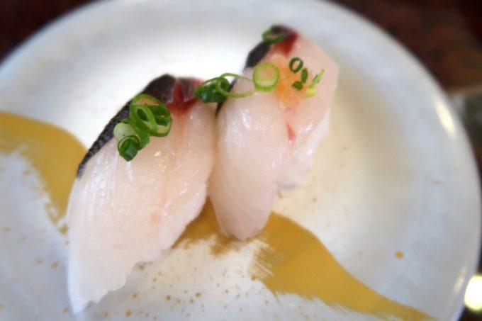 北谷町美浜「回転寿司 一番亭」真あじ(210円)