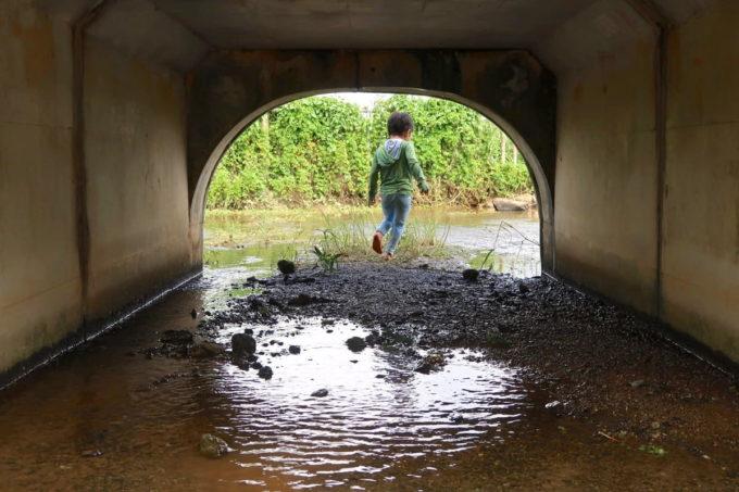 沖縄県うるま市「倉敷ダム」橋をすり抜けて向こう側に行ってしまうお子サマー