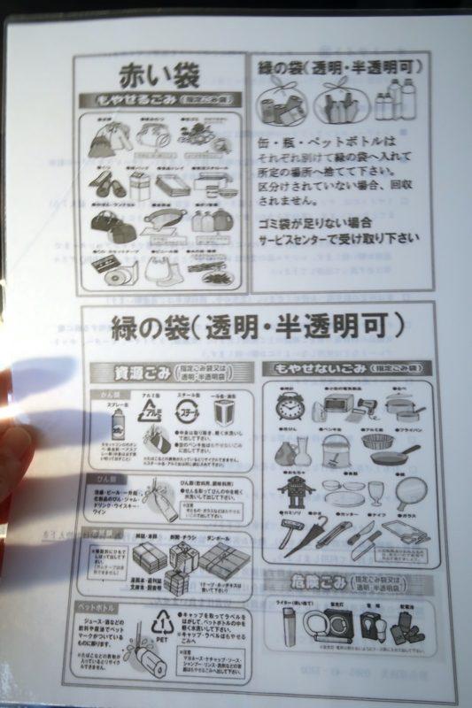 沖縄県東村「つつじエコパーク」のキャンプ場のゴミ分別の案内