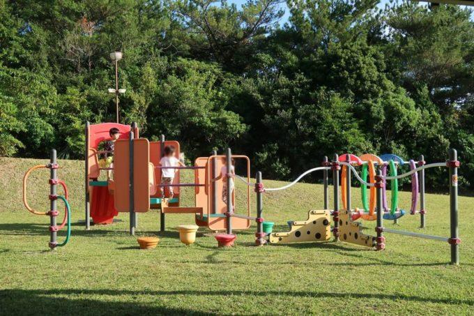 沖縄県東村「つつじエコパーク」の遊具で遊ぶ子どもたち