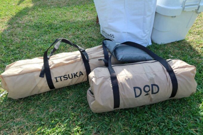 沖縄県総合運動公園キャンプ場に持ち込んだDODのワンポールテントといつかのタープ