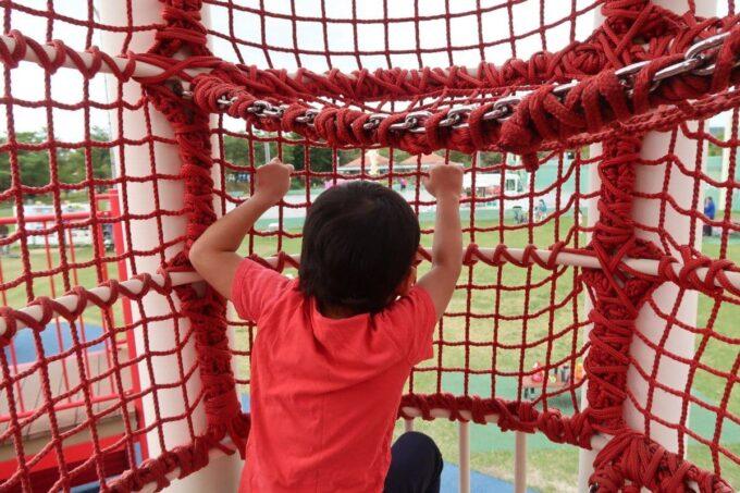 沖縄県総合運動公園キャンプ場の大型遊具のリングのぼりを楽しむお子サマー