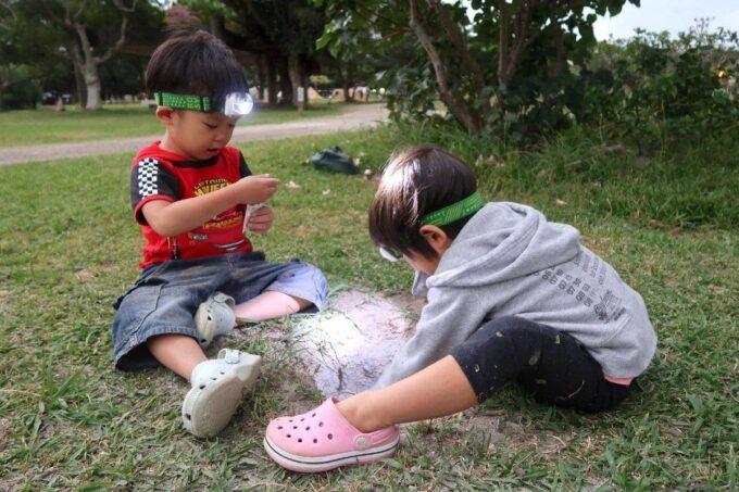 沖縄県総合運動公園キャンプ場でロゴスのヘッドライトをつけて穴掘りをするお子サマーたち