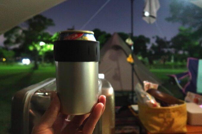 沖縄県総合運動公園キャンプ場に持ち込んだサーモスの保冷缶ホルダーが優秀だった