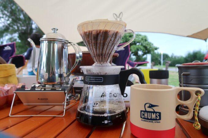 沖縄県総合運動公園キャンプ場でいただくモーニングコーヒー
