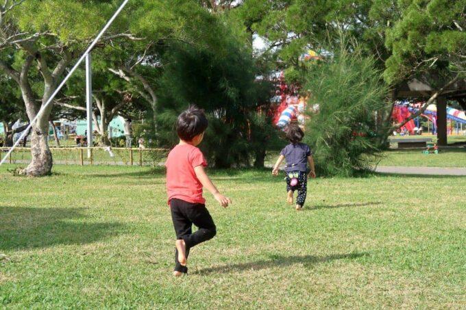沖縄県総合運動公園キャンプ場で遊ぶお子サマーたち