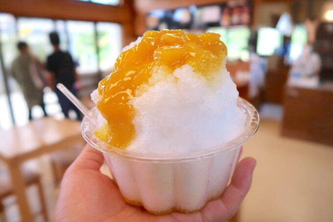 沖縄県東村「又吉コーヒー園」マンゴーかき氷(400円)をいただく