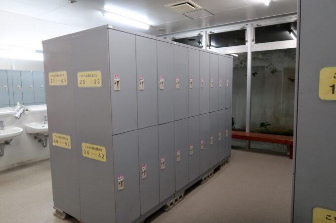 沖縄県金武町「ネイチャーみらい館」のキャンプ場にあるシャワー室のロッカー