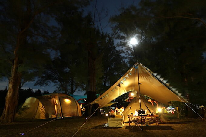 沖縄県金武町「ネイチャーみらい館」月明かりのキャンプサイト
