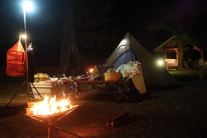 沖縄県金武町「ネイチャーみらい館」2泊目はタープを外すキャンプスタイルにした