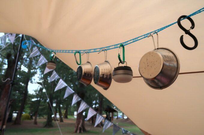 沖縄県金武町「ネイチャーみらい館」100円ショップの洗濯ロープが使える
