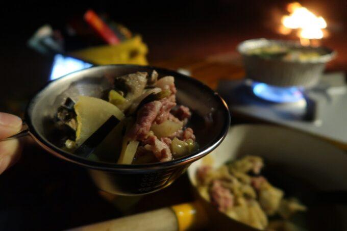 沖縄県金武町「ネイチャーみらい館」2日目の夜ご飯もあるものを煮込んだ鍋的なもの