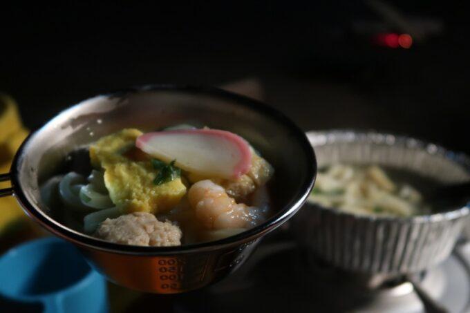沖縄県金武町「ネイチャーみらい館」2日目のお子サマーの夜ごはんは鍋焼きうどん