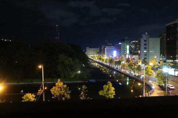 愛媛県松山市「ホテルマイステイズ松山」スタンダードダブル4階からのお堀ビュー(夜景)