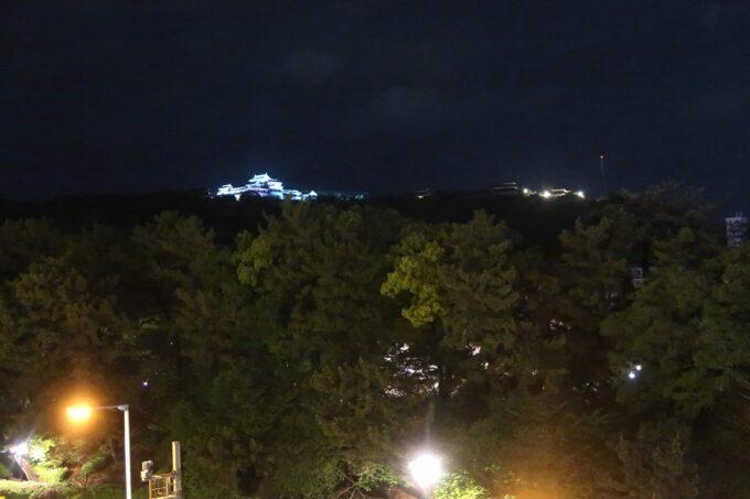 愛媛県松山市「ホテルマイステイズ松山」スタンダードダブル4階からの松山城ビュー(夜景)