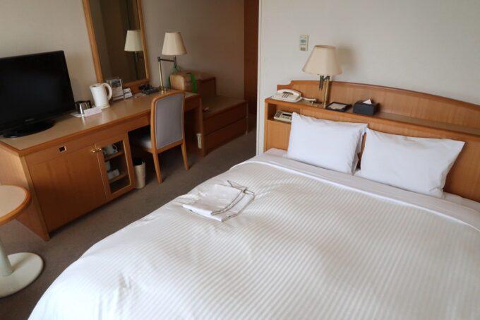 愛媛県松山市「ホテルマイステイズ松山」スタンダードダブル キャッスルビュー(17.12平米、窓側から)
