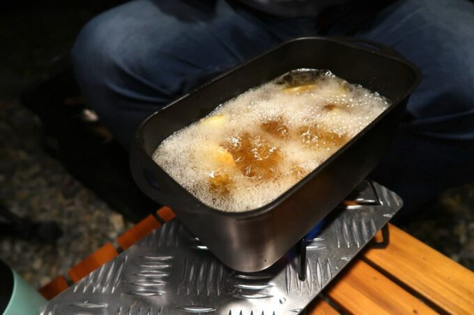 沖縄・本部町「KARST CAMP SITE(カルストキャンプサイト)」メスティンでポテトフライを食べられるなんて!