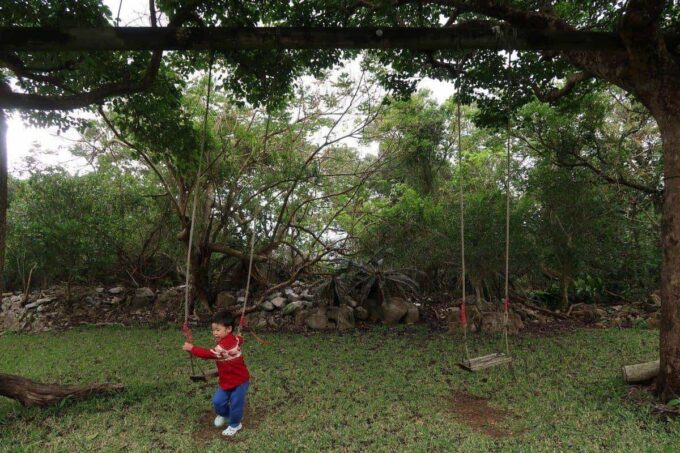沖縄・本部町「KARST CAMP SITE(カルストキャンプサイト)」4歳児とともに10分ほど歩いて遊具コーナーに到着