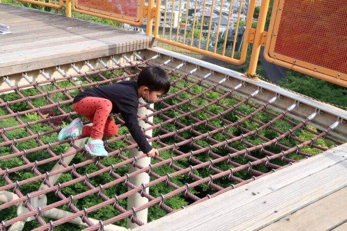愛媛県松山市「松山総合公園」の坊ちゃん夢ランドの円盤型アスレチックで遊ぶお子サマー