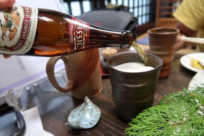 愛媛県松山市「居酒屋まつだ」瓶ビールはアサヒスーパードライとキリンクラシックラガーがあった(各600円)