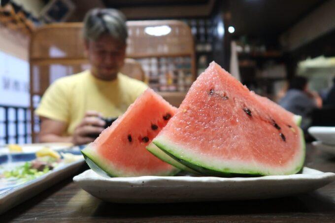愛媛県松山市「居酒屋まつだ」シメにスイカをいただいた