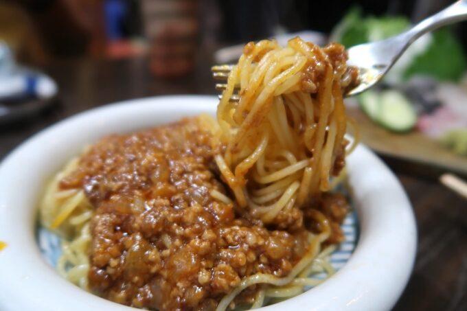 愛媛県松山市「居酒屋まつだ」大将が出してくれた子ども向けのミートスパゲティ