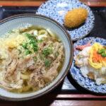 四国中央市「手打ちうどん 菜の家」肉うどん(中、500円)とちらし寿司(200円)とコロッケ(たぶん100円)